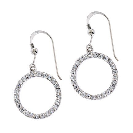 Clevereve Designer Series Circle Of Life Euro Sterling Silver Cz Earrings