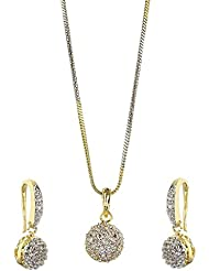 YouBella Jewellery Gold Plated American Diamond Pendant Set / Necklace Set For Girls And Women