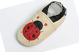 Carozoo baby boy soft sole leather infant toddler kids shoes Ladybug Cream 6-7y