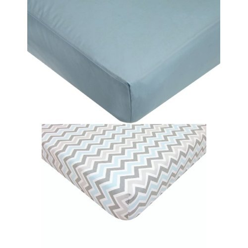 American Baby Company Blue Fitted Crib Sheet Bundle - 1