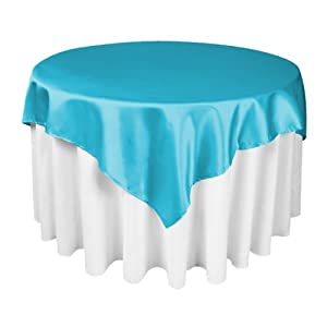 LinenTablecloth 60-Inch Square Satin Overlay Caribbean
