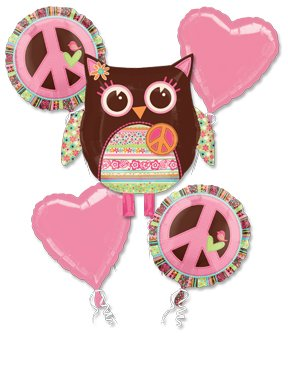 Girl Birthday Owl Balloon Bouquet W/Ribbons front-1061469