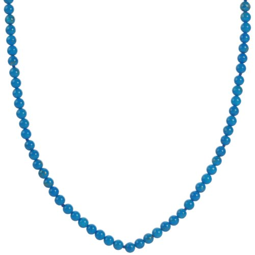 Sterling Silver Howlite Dyed Turquoise 4mm Knotted Necklace, 24