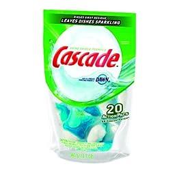 Cascade 41759CT ActionPacs, Fresh Scent, Blue, 12.7 oz Reclosable Bag, 20/Bag, 5 Bags/Carton