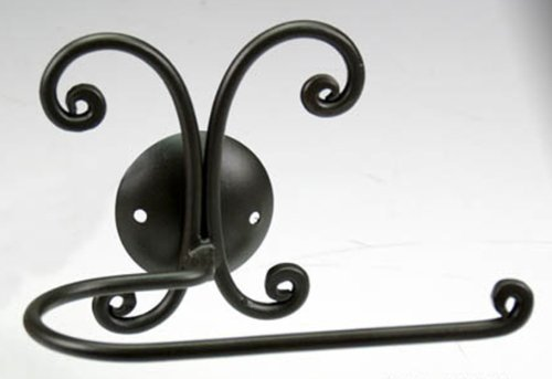 Bagno Toilet Paper Or Towel Holder For Bidet Or Bath, Wrought Iron Black Decor; Complete Bathroom Set