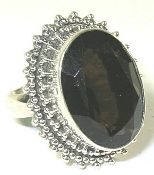 Smoky Quartz Sterling Silver Ring - Size 7.25