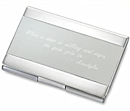 Personalized Silver & Satin Business Card Case Holder Engraved Free