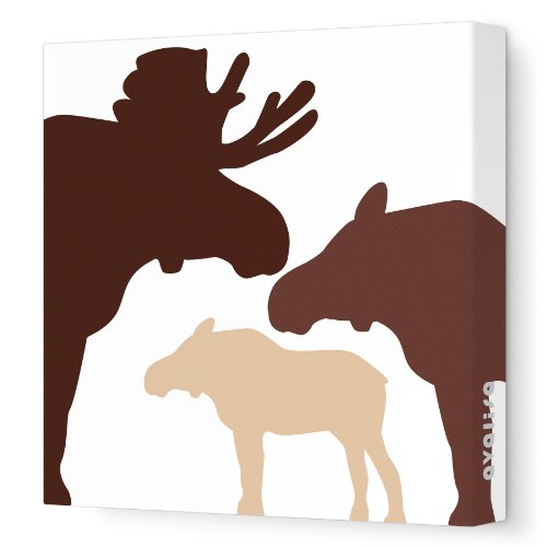 "Avalisa Stretched Canvas Nursery Wall Art, Moose, Brown Hue, 12"" x 12"""