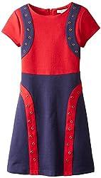 kc parker Big Girls' Color Block Knit Ponte Dress with Grommets