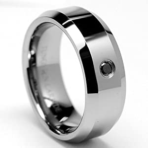 High Polish Tungsten Carbide Black Diamond Wedding Ring