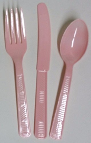 48 Plastic Cutlery Forks, Knives, Spoons Party Tableware - U Pick Color (Light Pink)
