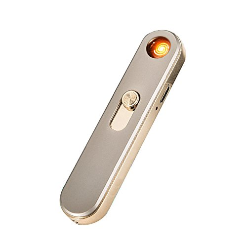 Geekercity USB Electronic Lighter Mini Portable Elegant USB Port Rechargeable Windproof Flameless Electronic Cigarette Lighters (Gold) (Portable Jammer compare prices)
