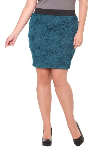 Torrid Plus Size Turquoise Rosette Pencil Skirt