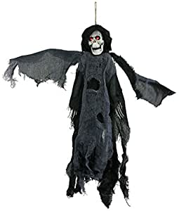 Black lighted animated flying reaper with for Animated flying reaper decoration