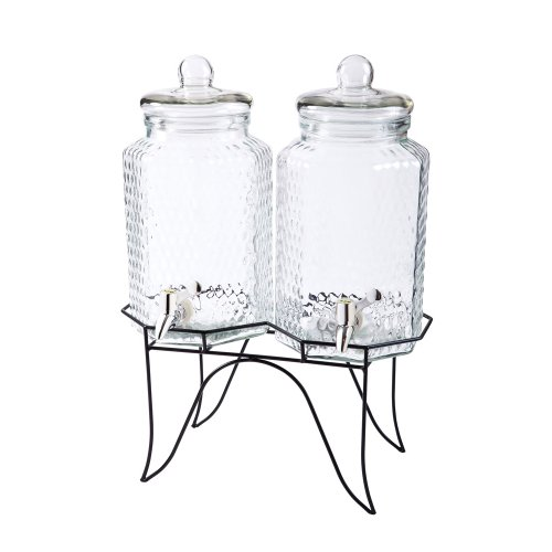 Hexagon Shaped Beverage Dispenser Containters With Metal Stand front-1032422