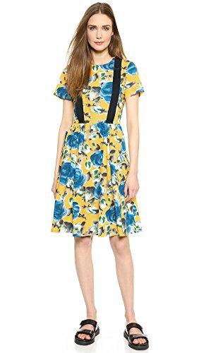 Marc By Marc Jacobs Women'S Jerrie Rose Poplin Dress, Yellow Jacket Multi, 10