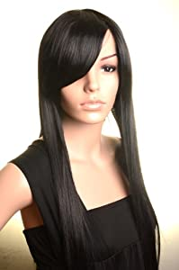Cosplay Wigs Long Straight Black Wigs Oblique Bands Wigs Synthetic Costume Wig SureWells