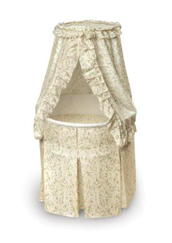 Badger Basket Company Empress Round Baby Bassinet, Ecru/Leaf Print
