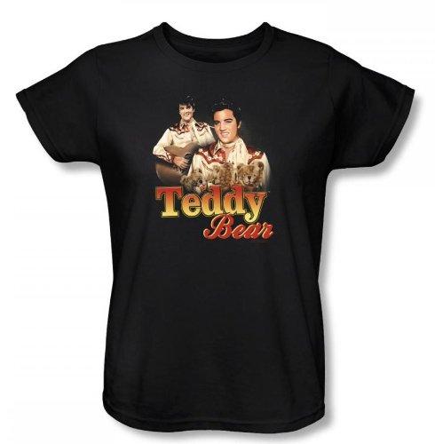 Elvis - Teddy Bear Womens T-Shirt In Black, Size:
