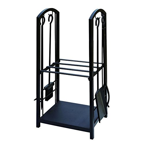 Lizh Metalwork Wrought Iron Log Rack with Fireplace Tools,Black (Iron Fireplace Tongs compare prices)