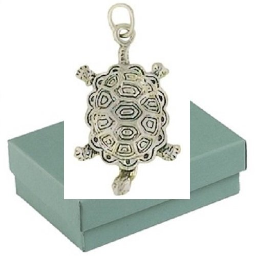 Gift Boxed Sterling Silver Box Turtle Charm Animal Jewelry Pendant front-1002126