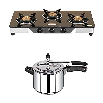 BrightFlame 3 Burner Black & Pressure Cooker 5 Ltr Stainless Steel