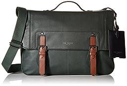 Ted Baker Men\'s Color Block Messenger Bag, Green, One Size