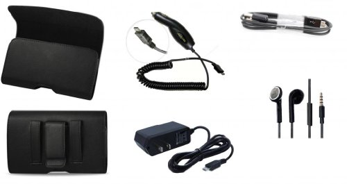 5 Pc T-Mobile Blackberry Q10 Accessory Kit Bundle Car + Home + Usb Data Cable Charger+Stereo Headset + Leather Holster Clip Case (Xcess Brand)