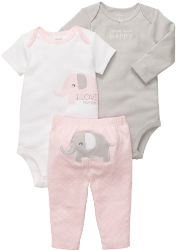 Carter'S Baby Girls' 3 Pc Turn Me Around Set - Pink Elephant - 12 Months front-172222