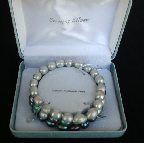 Brilliant 3 Piece Bracelet Set of Genuine Freshwater Pearls - Silvery White, Purple, Green and Blues