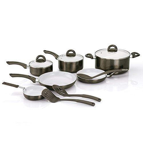 CeraPan Metallic 12 Piece Aluminum Cookware Set, Gun Metal (Aluminum Ceramic Cookware compare prices)