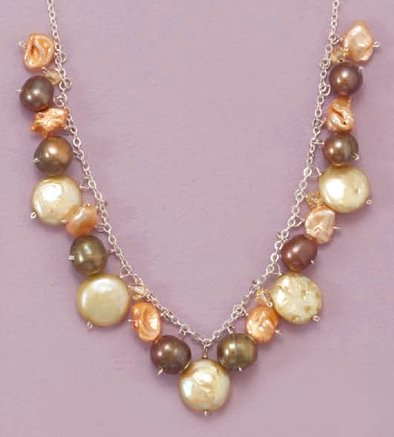 3-10mm Cultured Freshwater Pearls/3mm Crystal Sterling Silver Necklace, 16 + 1.5 in Ext