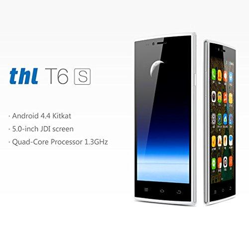 Due ThL T6S Android 4.4 Smartphone 5.0 pulgadas di JDI IPS Pantalla MTK6582 1GB 8GB GPS 3G Blanco