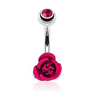 Taffstyle® Bauchnabelpiercing Stecker mit Rosen Blüte Anhänger - Pink
