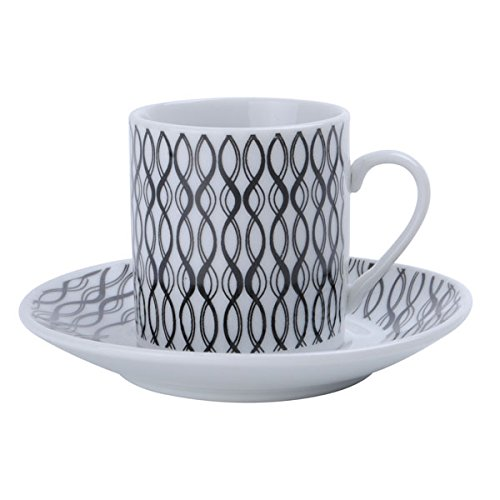 Porcelain China Espresso Cups and Saucers Turkish Coffee Demitasse Hypnotic Design (Alpine Cuisine Espresso compare prices)
