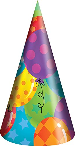 Creative-Converting-8-Count-Paper-Balloon-Patterns-Party-Hats-Adult-Size-Multicolor