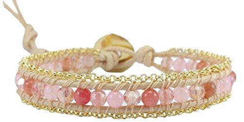 Rose Quartz Agate Crystal Leather Wrap Bracelet , Single Wrap, 4mm/bead