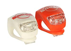 Snugg High Quality Set of 2 Super Bright Bike Lights, 1 Red (Rear light) and 1 White (Front Light) for Safety - Fits all sized Handlebars and Installs in Seconds! 2 Settings - Flashing light or Constant Light