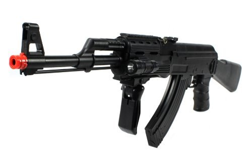 Velocity Airsoft Ak-47P Spring Airsoft Gun Fps-250 W/ Vertical Foregrip, Attachable Tactical Flashlight