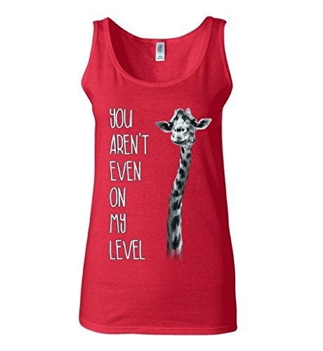 Raxo-Womens-You-Arent-Even-On-My-Level-Tank-Top-Giraffe-Gym-Tank-L-Red