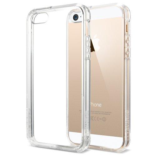 【国内正規品】 Spigen iPhone 5s / 5 ケース ウルトラ・ハイブリッド クリア バンパー (エアクッションテクノロジー) (日本製 液晶保護 フィルム付) [クリスタル・クリア] 【SGP10640】
