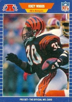 Ickey Woods Football Card (Cincinnati Bengals) 1989 Pro Set #70