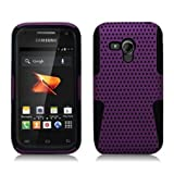 Samsung Galaxy Rush [Boost Mobile] Hybrid Double Layer Skin Case + Perforated Armor (Black / Purple)