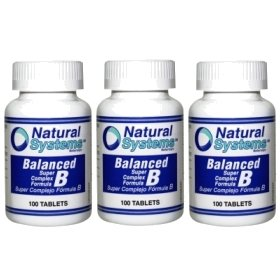 Natural Systems 3 Pack Balanced Vitamin B Complex 3X100 Tablets Energy Stress