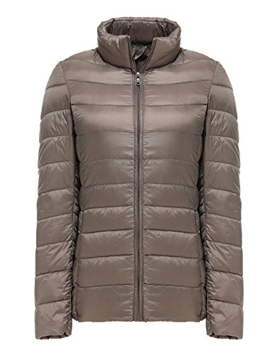 Vcansion Women's Outwear Down Coat Lightweight Packable stand collar Down Jackets Grey M