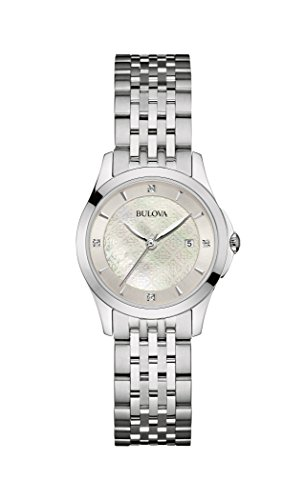 Bulova Diamond Women's Quartz Watch with Mother of Pearl Dial Analogue Display and Silver Stainless Steel Bracelet 96S160