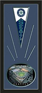 Seattle Mariners Wool Felt Mini Pennant & Safeco Field, Night game Photo - Framed... by Art and More, Davenport, IA