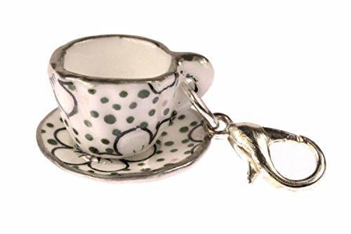 Kaffeetasse Tasse Charm Anhänger Bettelanhänger Miniblings Punkte dunkelgrün