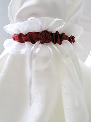 Strumpfband aus Organza in weiß/ bordeaux