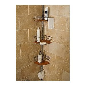 Attractive Bamboo Chrome Shower Organizer Bath Tub Tension Caddy Storage System Review